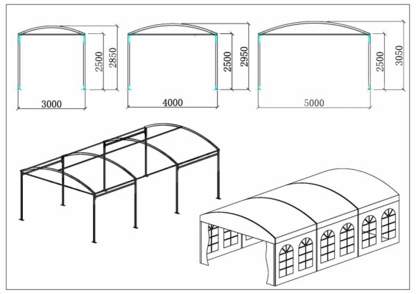 Tente dôme de 3m à 5m