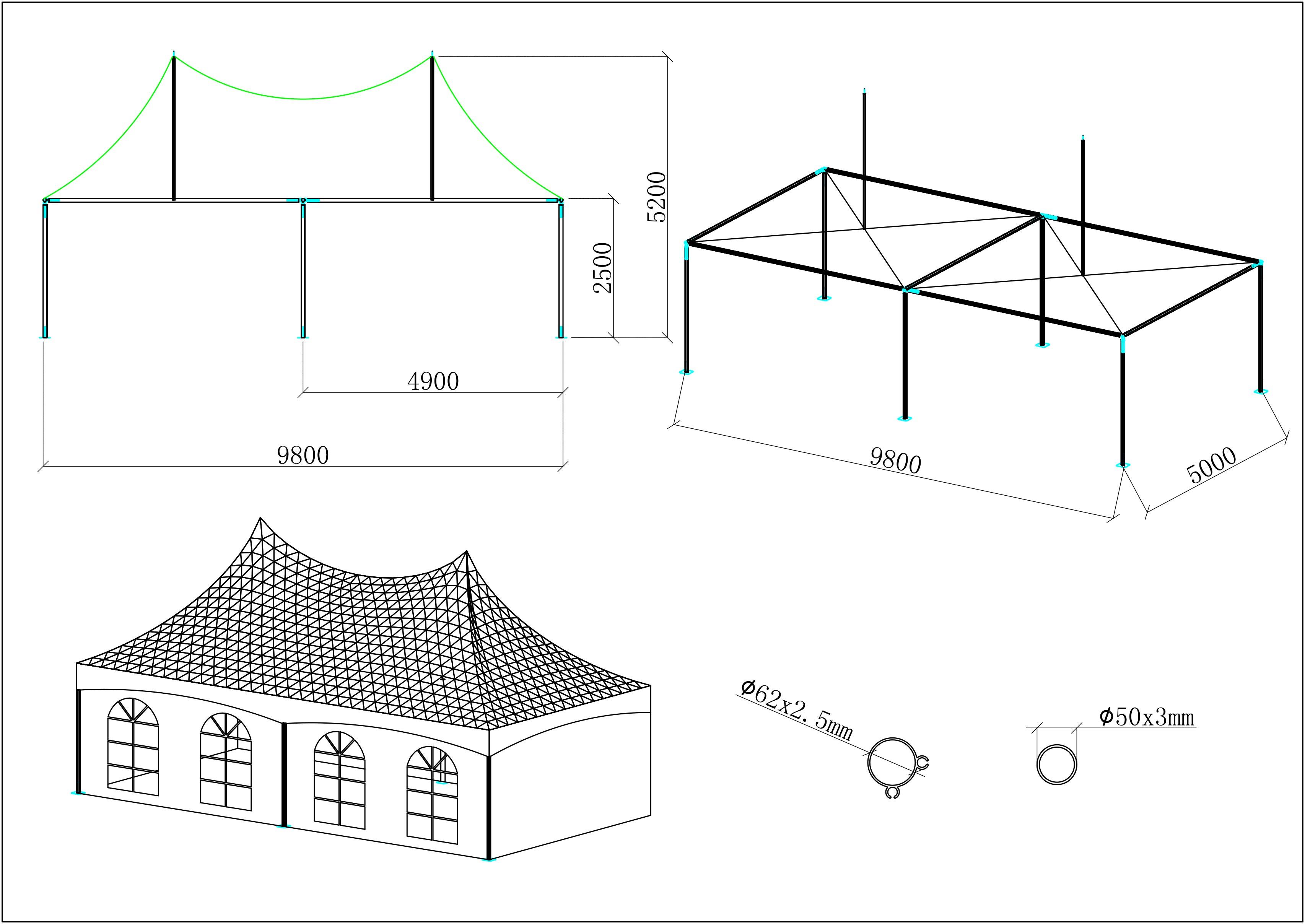 Tente de reception 5x10m