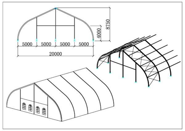Chapiteaux courbé 20m