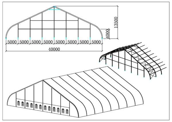 Chapiteaux courbé 40m
