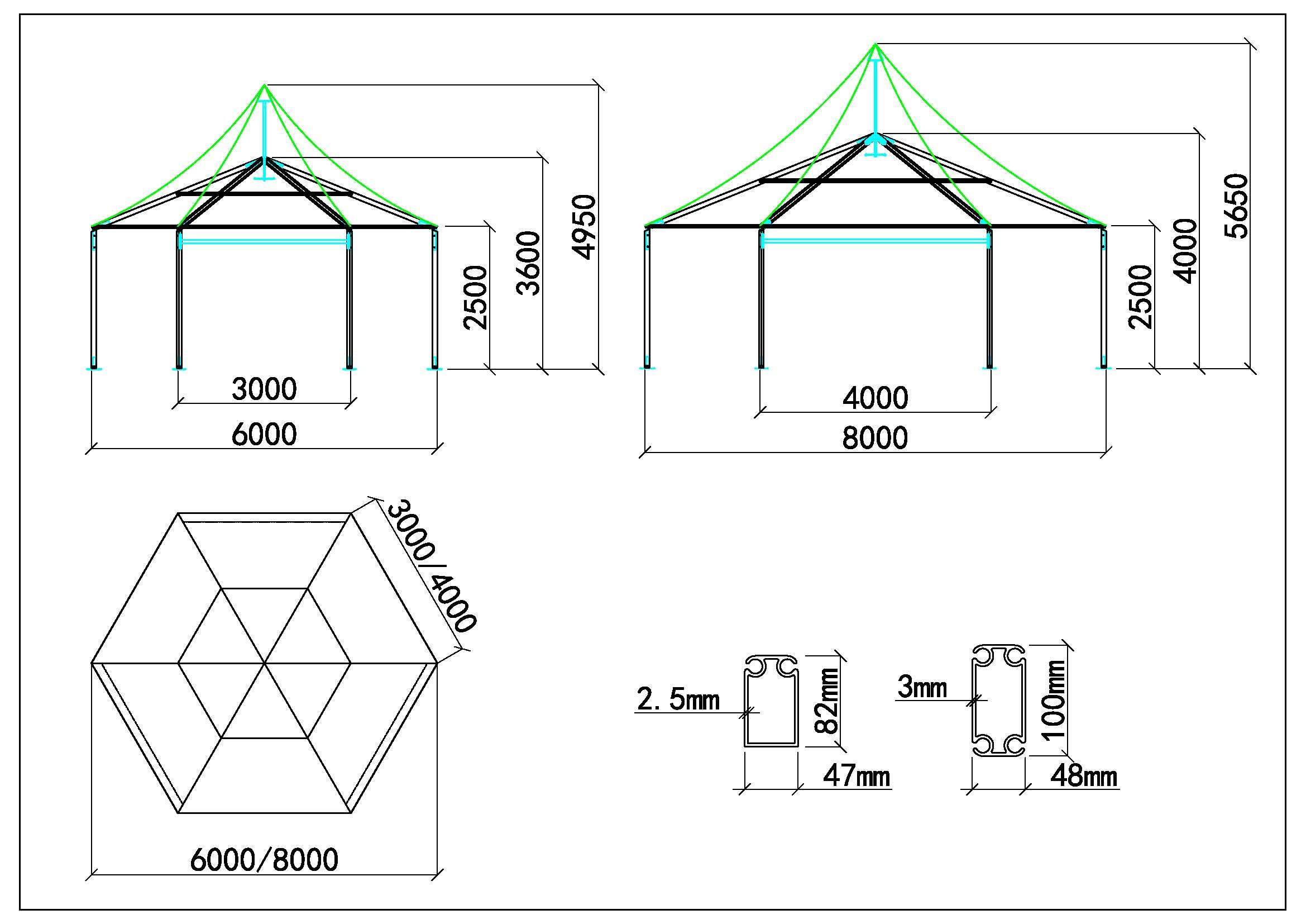 Polygone tente 6-8m