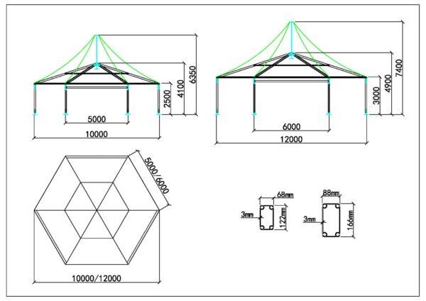 Polygone tente 10-12m